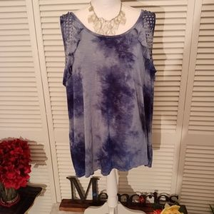 Maurice's blue tye dye ruffle and crochet top.